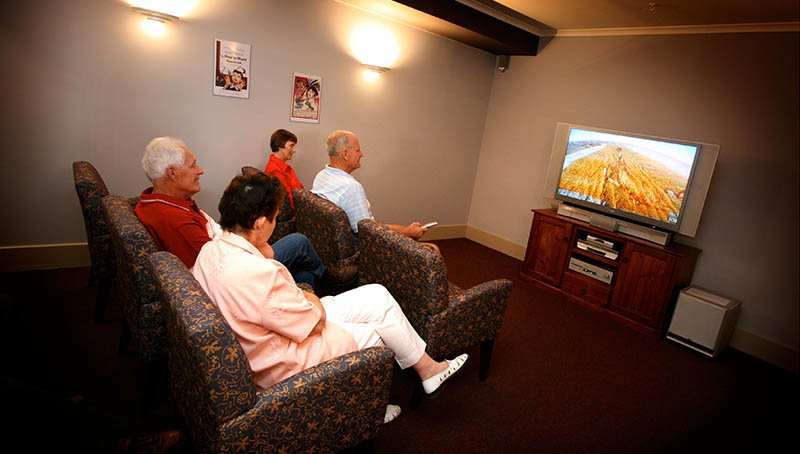 Watching a movie - Princes Court Elderly Homes & Village Mildura